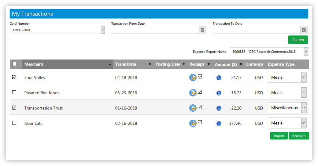 credit card expense report import feature sutiexpense